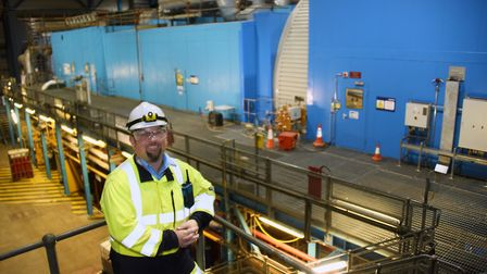 Adam Kennard, King's Lynn Power Station manager, where the turbines are sited in the plant. Picture