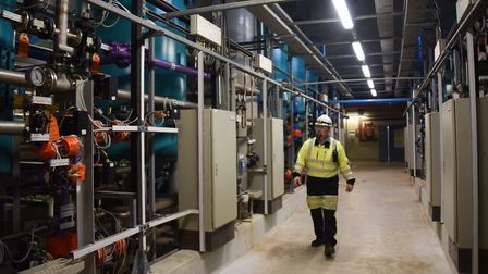 Adam Kennard, King's Lynn Power Station manager inside the water treatment plant. Picture: DENISE B