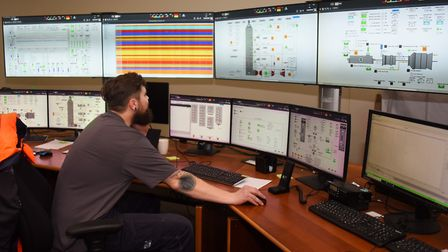 James Bell, operating technician at work in the King's Lynn Power Station control room. Picture: DEN