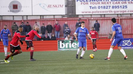 Lowestoft's Kyle Richardson in action against Tamworth. Picture: SHIRLEY D WHITLOW