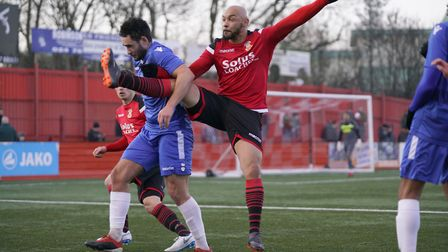 Lowestoft's Louis McIntosh battles with Tamworth's Aaron Forde. Picture: SHIRLEY D WHITLOW