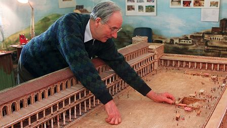 Alec Garrard in 1998 with his model of Herod's Temple. Picture: Bill Darnell