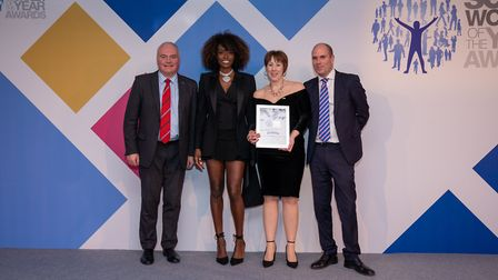 Maxine Thurston (second from right) with (L-R) James Bouch, sales director at award sponsor Servelec
