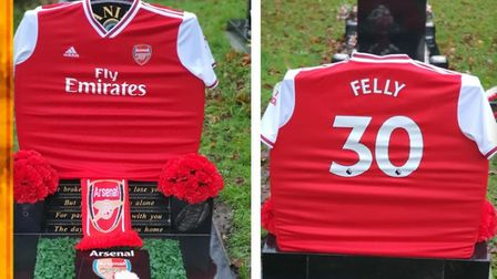 This red and white personalised Arsenal shirt was stolen from Daniel Felstead's grave. If you have a