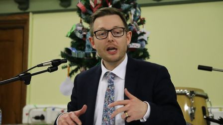 Duncan Baker, the Conservative candidate for North Norfolk in the 2019 General Election at a husting