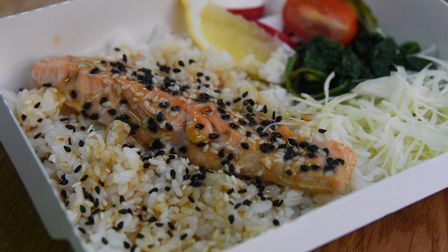 Teriyaki salmon bento from the new cold food range at Bun Box, Japanese street food, which has exten