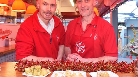 Lucy's Fish and Chips shop at Norwich Market have launched a festive menu with battered Christmas fo