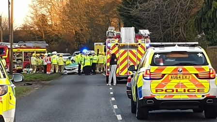 The scene on Norwich Road, Swaffham, following a crash involving two police cars. Picture: Supplied