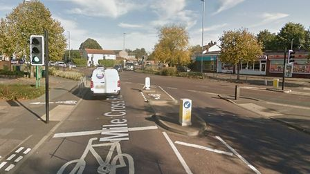 The junction on Aylsham Road where Mile Cross Road and Woodcock Road meet. Pic: Google Street View