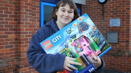 Sheringham Salvation Army community manager Carol McKean with some of the toys the corps will be del