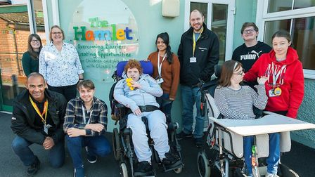 Amazon staff visit The Hamlet's Norwich centre. Will Bamber, right, with student Oly Dungar. Picture