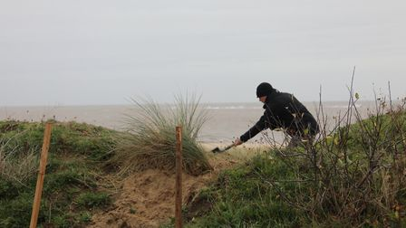 A section of the dunes at Caister was damaged over the weekend of December 7 and 8. Picture: Caister