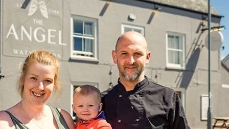 Emily Phipps with son and Richard Crouch outside The Angel in Watlington. Picture: Emily Phipps