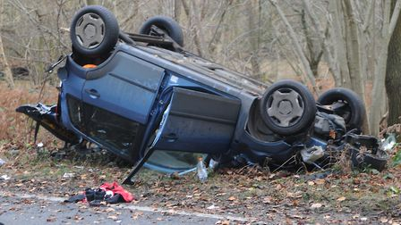 The car which has overturned on the A47 at West Bilney, near King's Lynn Picture: Casey Cooper-Fisk