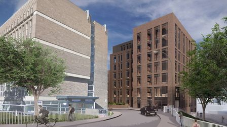 A CGI image of the new student accommodation which could be built in Rouen Road, Norwich. Pic: Cross