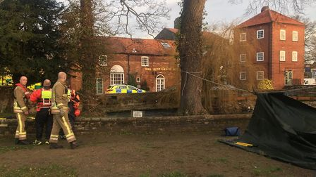 Part of the river was cordoned off while police investigated the discovery Picture: Adam Lazzari