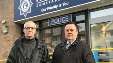 Anthony Miller (left), brother of murder victim Peter Miller, and Acting Detective Inspector Neil St