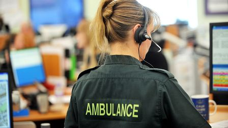 East of England ambulance control centre in Norwich. Call handler. Photo: Bill Smith