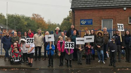 Parents protesting the closure of Tivetshall Primary School, which could be shut in a merger with Bu
