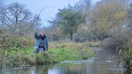 JB and James Buckley enjoy top grayling sport on the Test. Picture: John Bailey