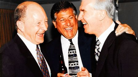 Duncan Forbes with great mates Dave Stringer, left, and Kevin Keelan Picture: The Forbes Family