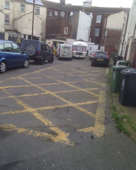 Roman Place in Great Yarmouth has been described as a 'parking disgrace'. Photo: Supplied/Archant