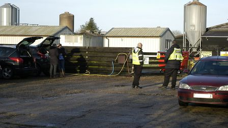 Security at the entrance to Homefield Farm at Athelington, near Eye. Picture: Simon Parkin