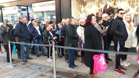 Hundreds of people queue for the opening of the brand new Primark in Haymarket. Picture: Ella Wilkin