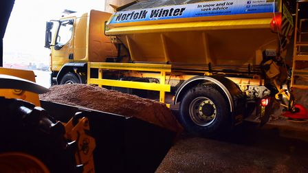 Gritters will be out across Norfolk tonight to prepare the roads for bitterly cold temperatures. Pic