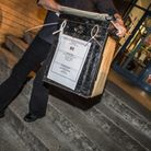 A ballot box leaves a polling station. Picture: Matthew Usher.