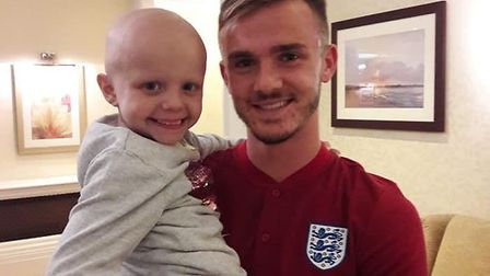 Sophie Taylor with canaries player James Maddison. Picture: Alex Taylor