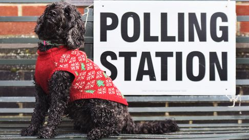 Milly Hartley in her best Christmas jumper outside New Buckenham Polling Station during the December
