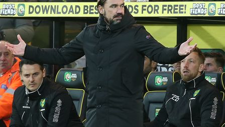 Daniel Farke cut a frustrated figure as City lost 2-1 to Sheffield United at Carrow Road. Picture: P