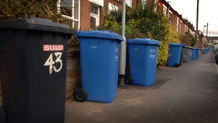 Wheelie bins out for collection. Check your 'bin hangar' for details of Christmas and New Year colle