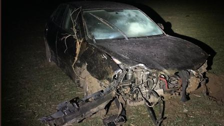The drink driver's car after it was rolled several times. Photo:Norfolk Police
