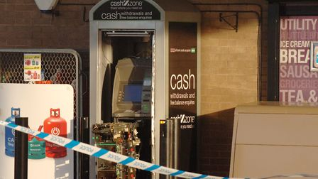 The cashpoint which has been raided at the Esso service station on the A10 near King's Lynn Picture