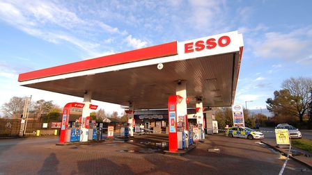 Police have cordoned off the Esso service station on the A10 near King's Lynn Picture: Chris Bishop
