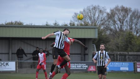 Action from Dereham Town's 3-1 defeat against Tilbury a week ago Picture: Rob Groom