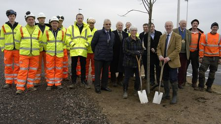 Workers from contractors Tarmac, district and county councillors celebrate completion of the new A14