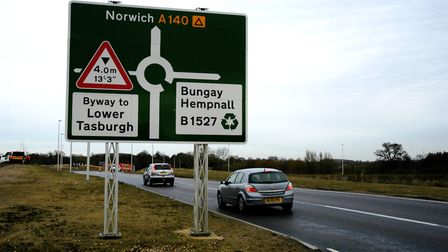 The new A140 Hempnall roundabout cost £4.57m and is used by more than 20,000 cars a day. Picture: Si