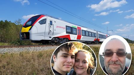 Greater Anglia have only recently introduced their new fleet of trains. Insets: (left) Nathan and hi