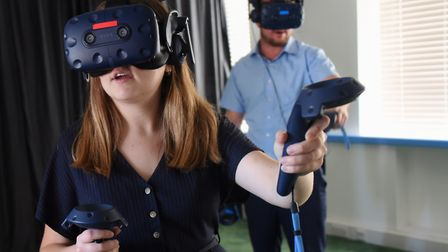 Louisa Baldwin tries out the new Norwich VR Escape Room with director Stefan Markovic. Picture: DENI
