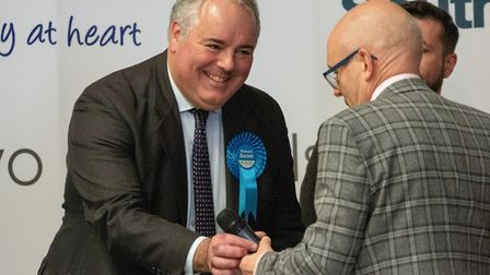 South Norfolk Conservative MP Richard Bacon celebrating his win at The General Election 2019. Pictur