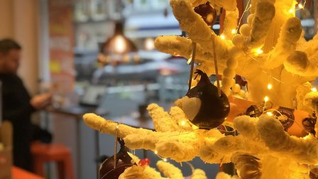 The Kettle Foods cheese Christmas tree at The Feed social enterprise cafe on Prince of Wales Road in