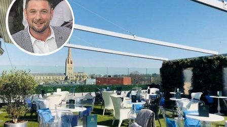 Adam Coulton, inset, organiser of the Rooftop Gardens' NYE party. Picture: Ibiza Brunch/Louisa Baldw