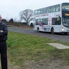 Blogger Gerard Fletcher with the then-X1 bus heading out of Walpole Highway on its journey to Lowest