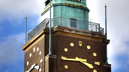 Norwich City Hall clock tower.Picture: ANTONY KELLY