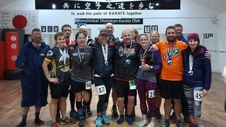 Dereham runner Ian Odgers (front centre) completed his 200th marathon at the Great Barrow Challenge.