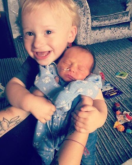 Felicity-Jane Mina Eva Eagle, who has died at just six months old, pictured with her brother Freddie