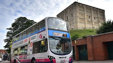 The number 25 First bus at Castle Meadow, Norwich.Picture: ANTONY KELLY